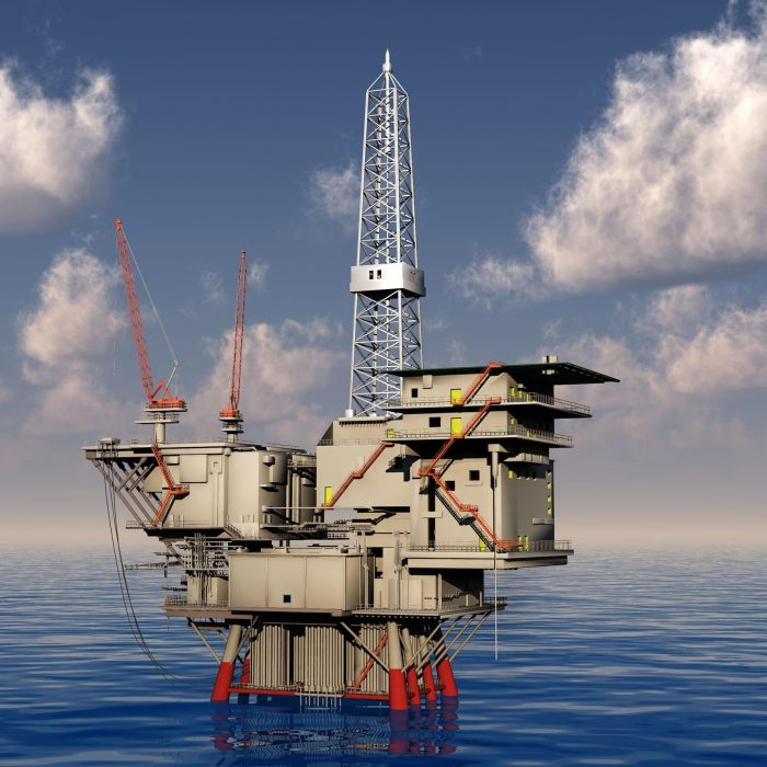 Oil drilling set up in the sea project at Malikai.