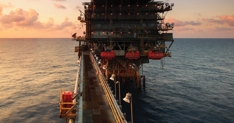 Project Photograph of an oil rig in the sea.