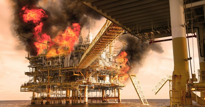 Explosion in a oil rig in the sea services